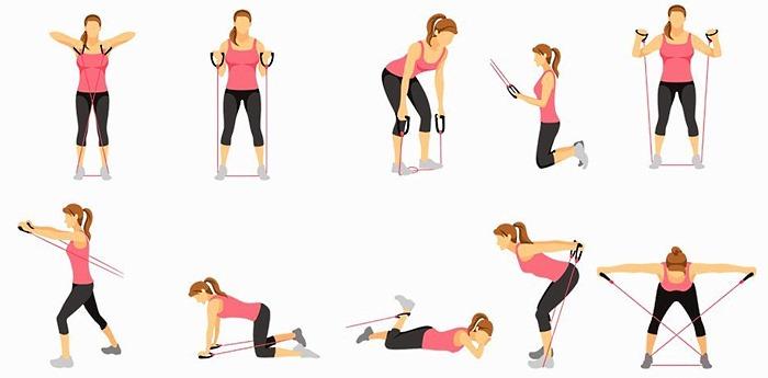 Обратите внимание на технику выполнения упражнений с эспандером